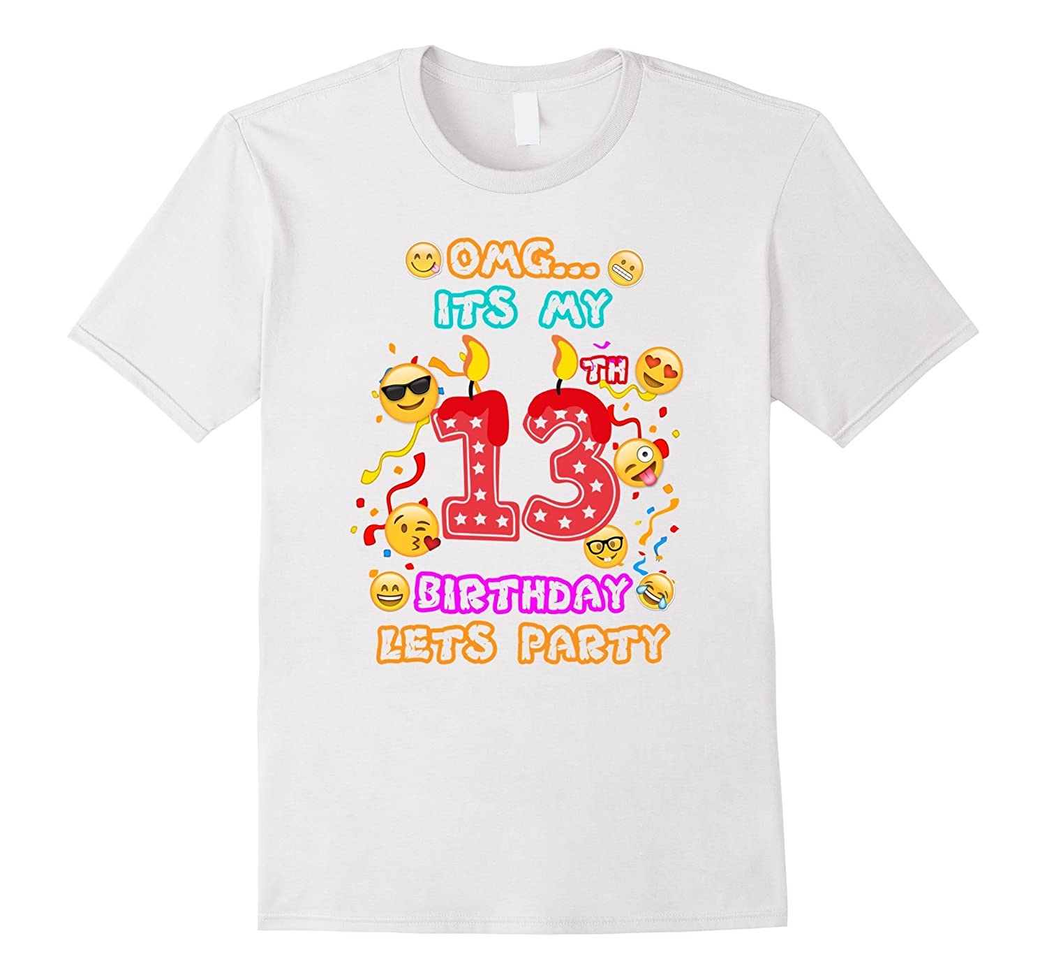 13th Birthday Emoji T-Shirt for 13 Year Old Awesome Kids-TH