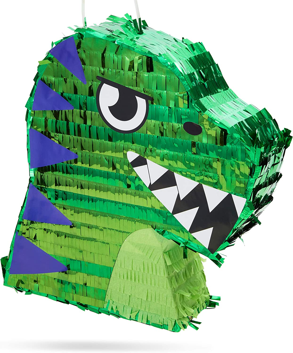 Small Green Scary T-Rex Dinosaur Pinata for Birthday Party (11 x 12.9 x 3 In)