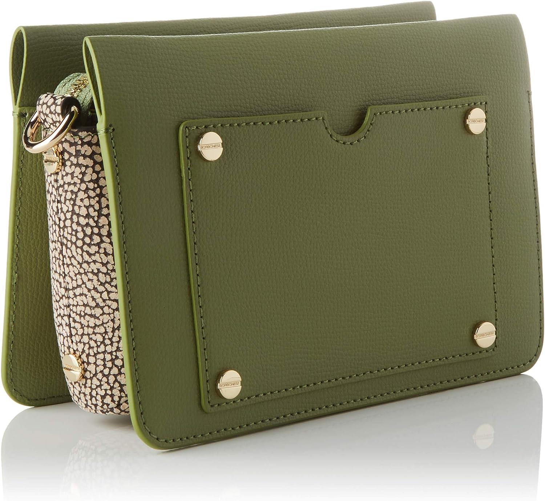 Borbonese Damen Tracolla Medium Kuriertasche, 20.5x14.5x8 cm Verde (Verde Militare)