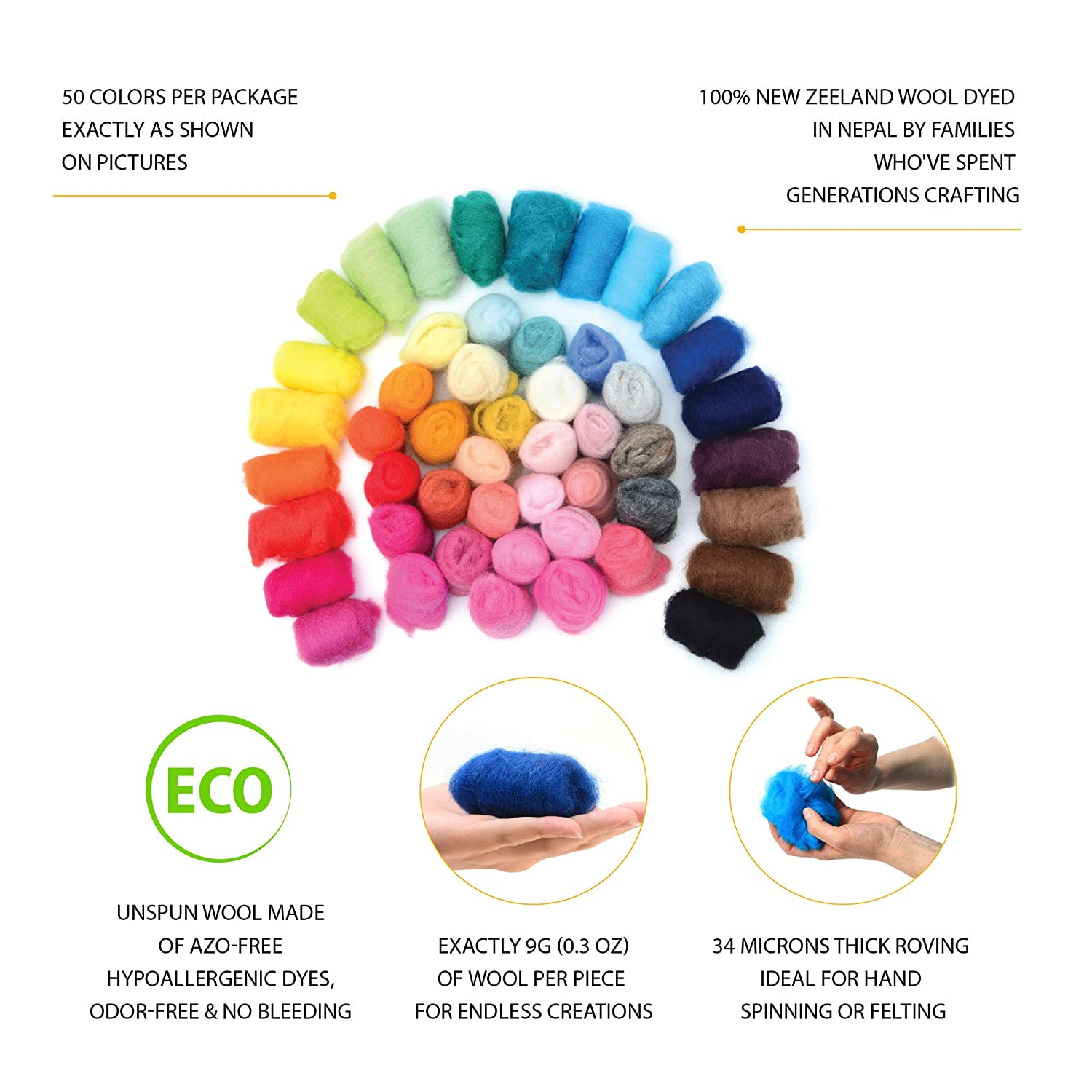 50 Colors Glaciart Felting Wool 9g per Color Unspun Needle Wool Roving for Felting /& Felting Supplies Material /& Crafting Multi Colored Soft Raw Fiber for Fabric