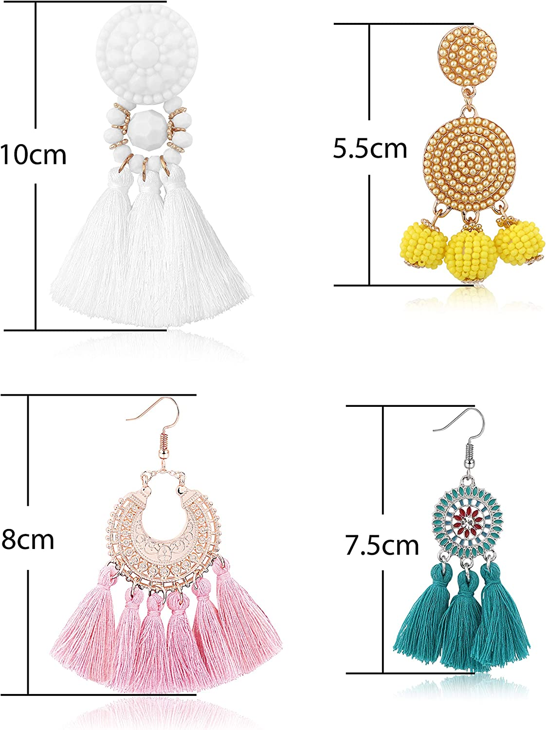 Bohemian Red Three Layer Silk Fringe Thread Rope Clip on Earrings Prom Bar Dress Up for Girls Women