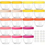 Youngever 18 Sets Baby Food Storage, 4 Ounce Baby Food Containers with Lids, 9 Bright Pink Colors, with Lids Labels