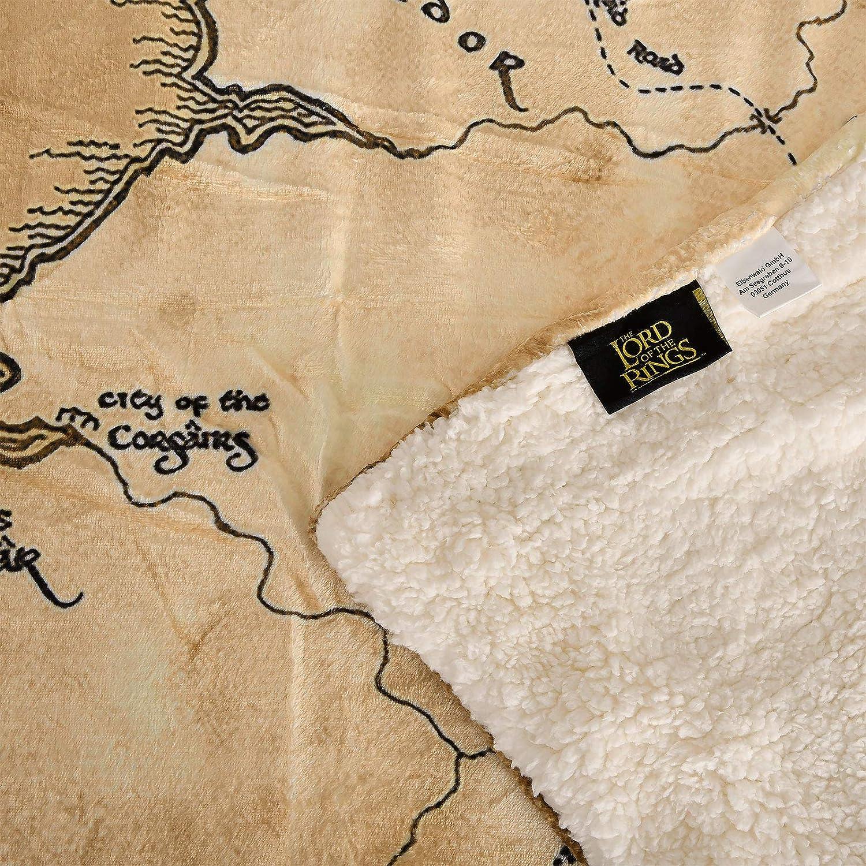 avec Teddy Sherpa 200x150cm Carte de la Terre du Milieu For/êt Elbe Beige Couverture du Seigneur des Anneaux