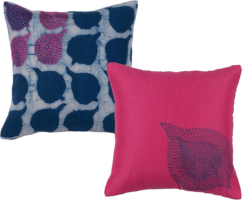 Amazon Com Set Of 2 Neel 100 Cotton Hand Embroidered 12 X 12 Designer Throw Pillows Kitchen Dining