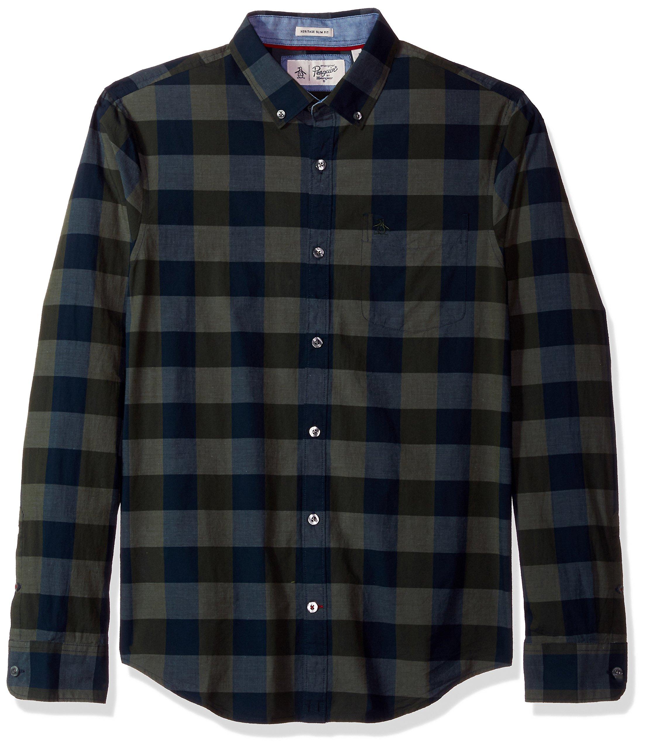Original Penguin Men's P55 End Plaid Shirt, Forest Night, Medium