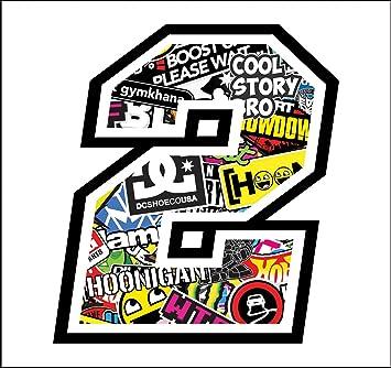 Sticker Number 2 Race 12 Cm Sticker Bomb Rennen Cross Track Auto Motorrad Aufkleber Auto