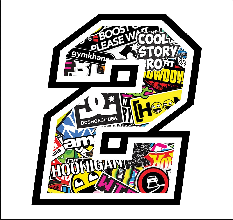 Sticker Bomb Autocollant Numero 2 Race 12 cm Autocollants Moto Cross Course