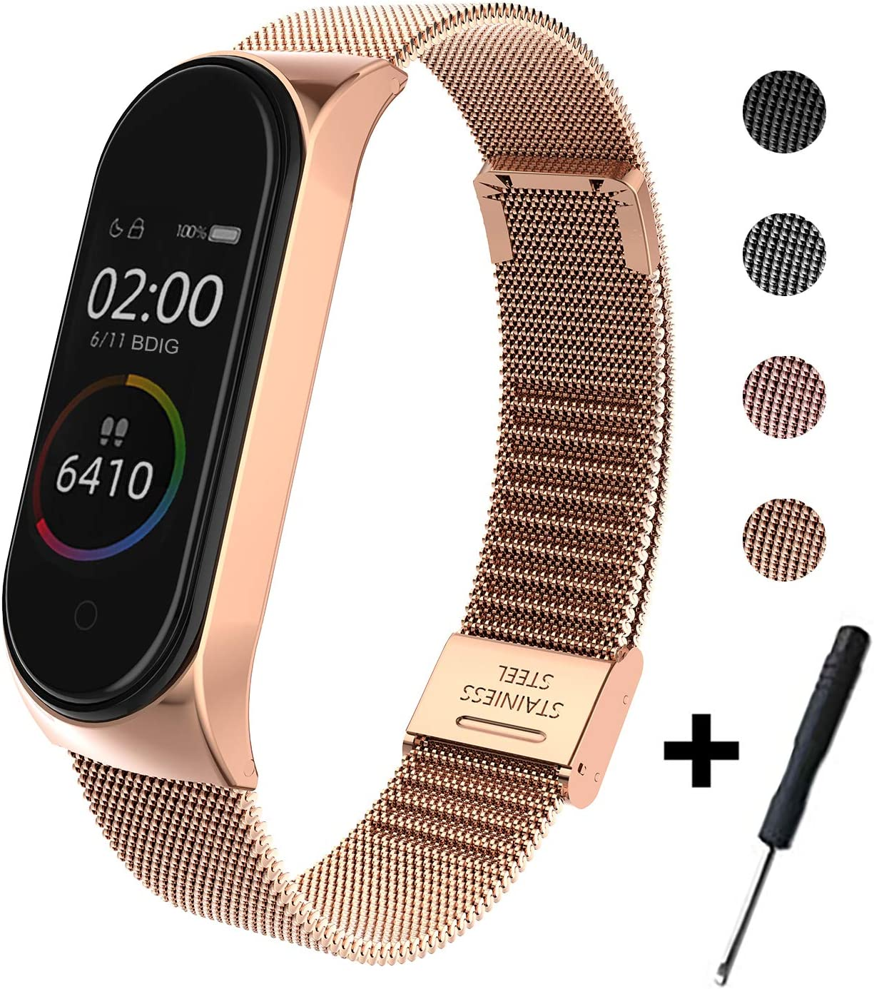BDIG Correa Compatible Xiaomi Mi Band 4 Correas Metal,Pulsera de Acero Inoxidable Agradable para Mi Band 4 Correa (No Host)
