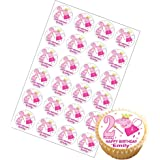 24 x Personalised Peppa Pig Cup Cake Toppers with Any Name and Age on Decor Real Edible Icing (Age 2)
