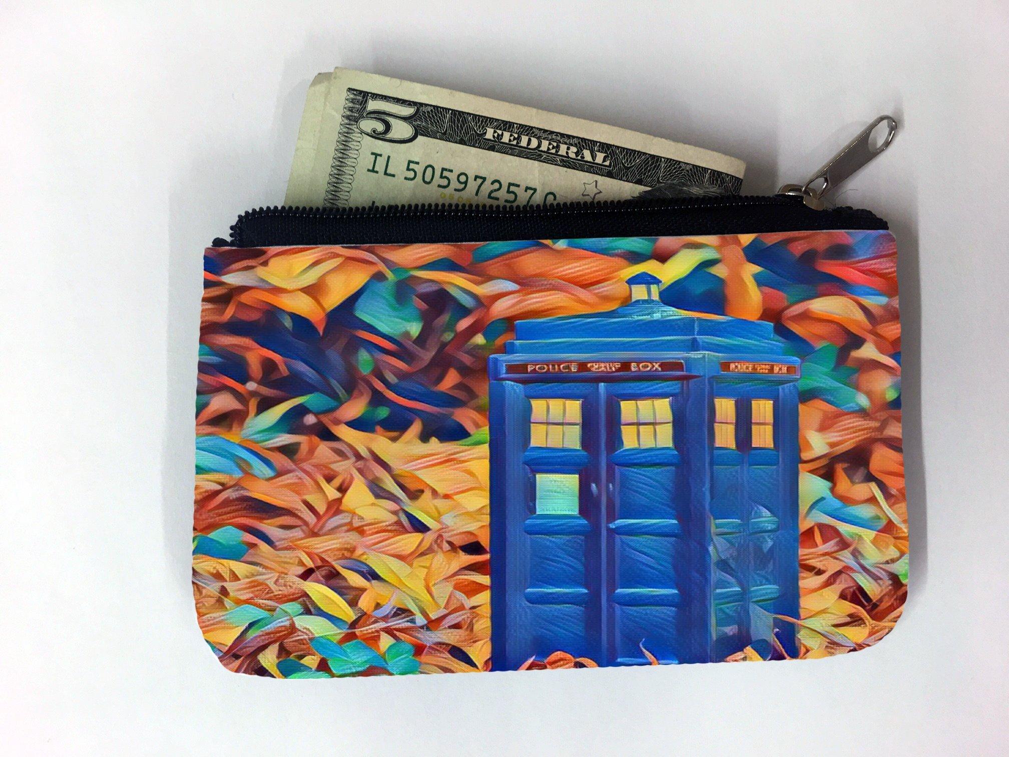 TV Programme Blue Phone Box Printed Design Coin Purse Change Holder by Smarter Designs