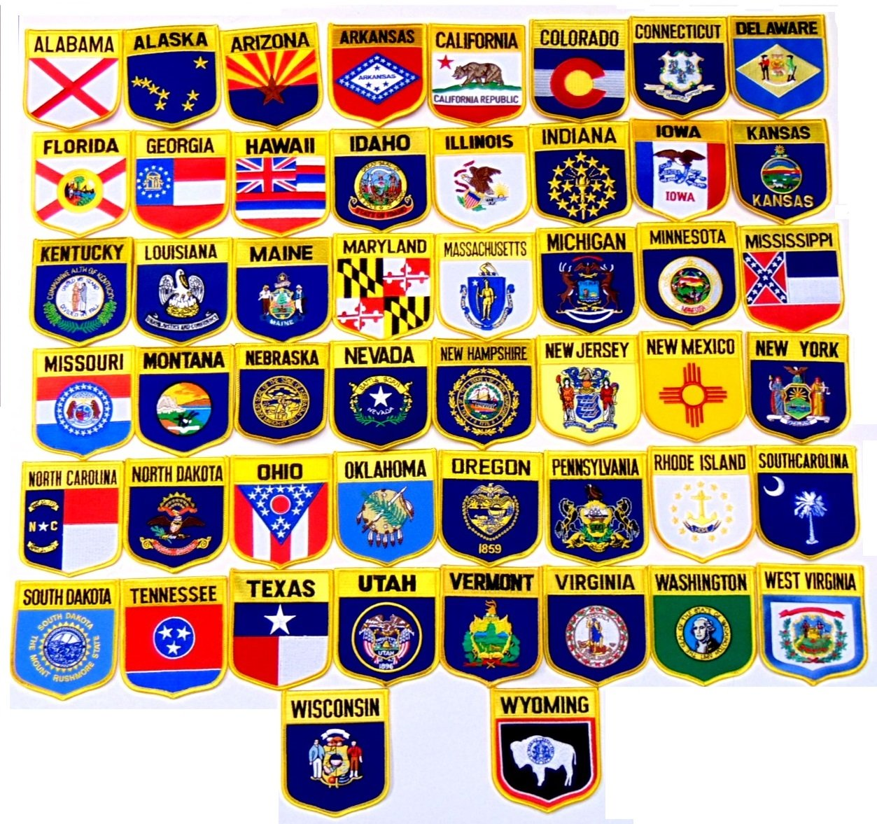 United States State Shield Flag Patch Set!! 50 State Shield Flag Patches, Measure 3 1/8'' x 3 1/2'', One Patch for Each State in The Country Embroidered Iron On or Sew On Flag Patch Emblem by World Flags Direct