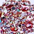 Mix Sizes 300pcs Crystal Clear AB Nail Art Rhinestones DIY Non Hotfix Flatback Acrylic Nail Stones Gems for 3D Nails Art Decorations Red AB