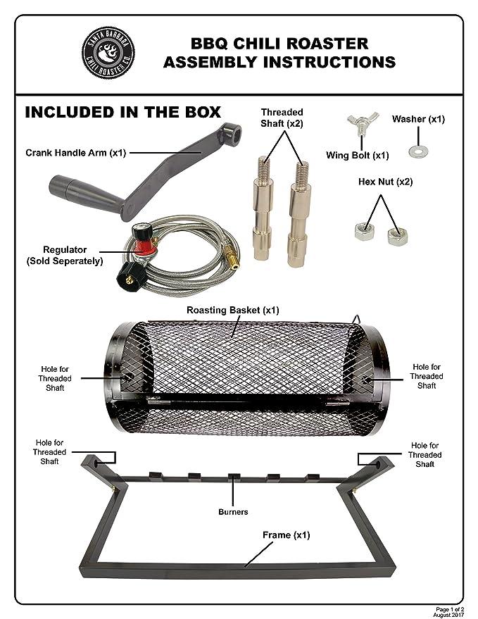 Amazon.com: 5 Burner Hatch Rotating Chili Roaster With Portable BBQ Stand & Regulator CR-BARBACOA: Garden & Outdoor