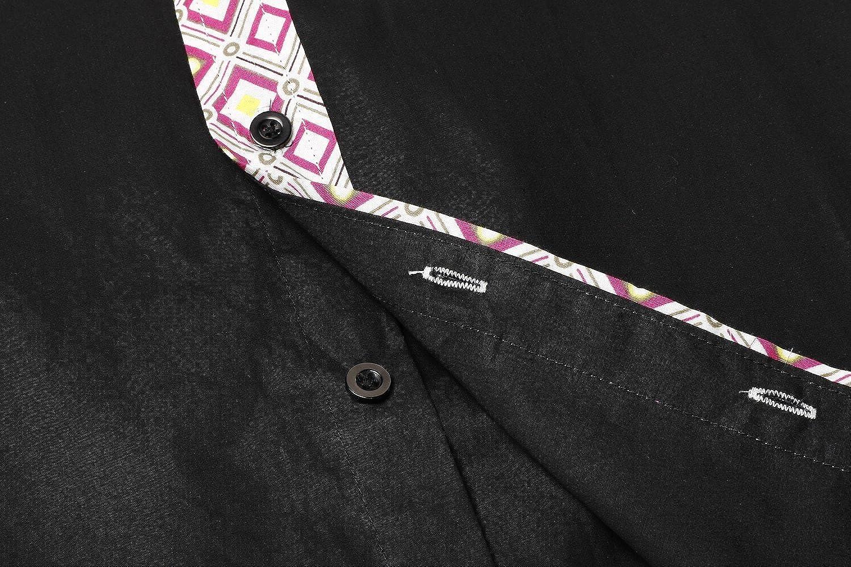 COOFANDY Mens Long Sleeve Inner Contrast Dress Shirt Ethnic Print Casual Button Down Shirt