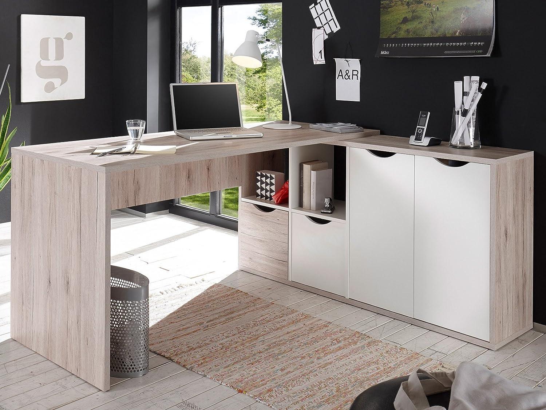 Möbelando Winkelschreibtisch Eckschreibtisch Winkelkombination Schreibtisch Quinn I
