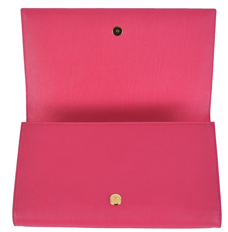 Yves Saint Laurent YSL Pink Leather Large Belle de Jour Clutch