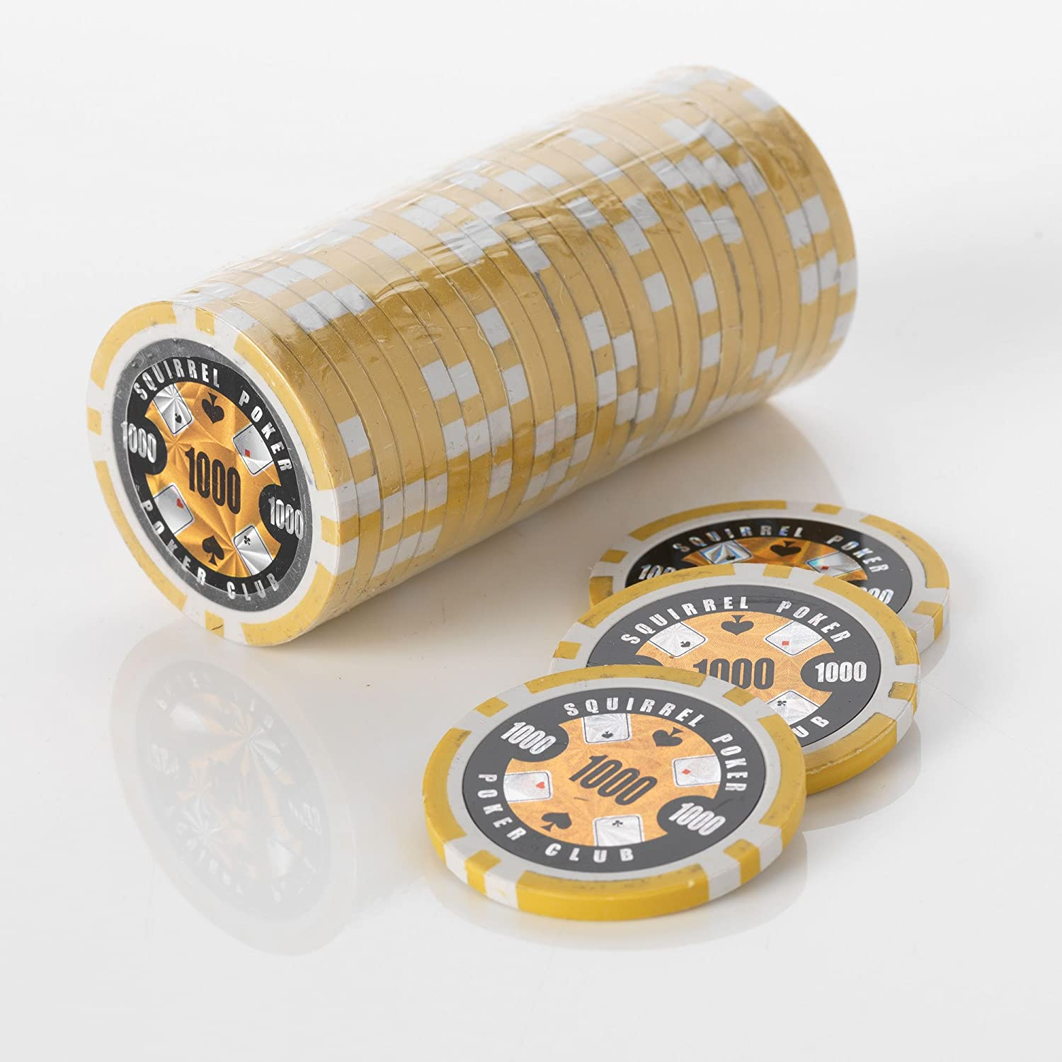 15G Poker Chips - Design - Squirrel Poker Poker Club 15G Poker Chips Colour = Yellow, Value = $1000 by Squirrel Poker SPPCCHIPSYellow-$1000