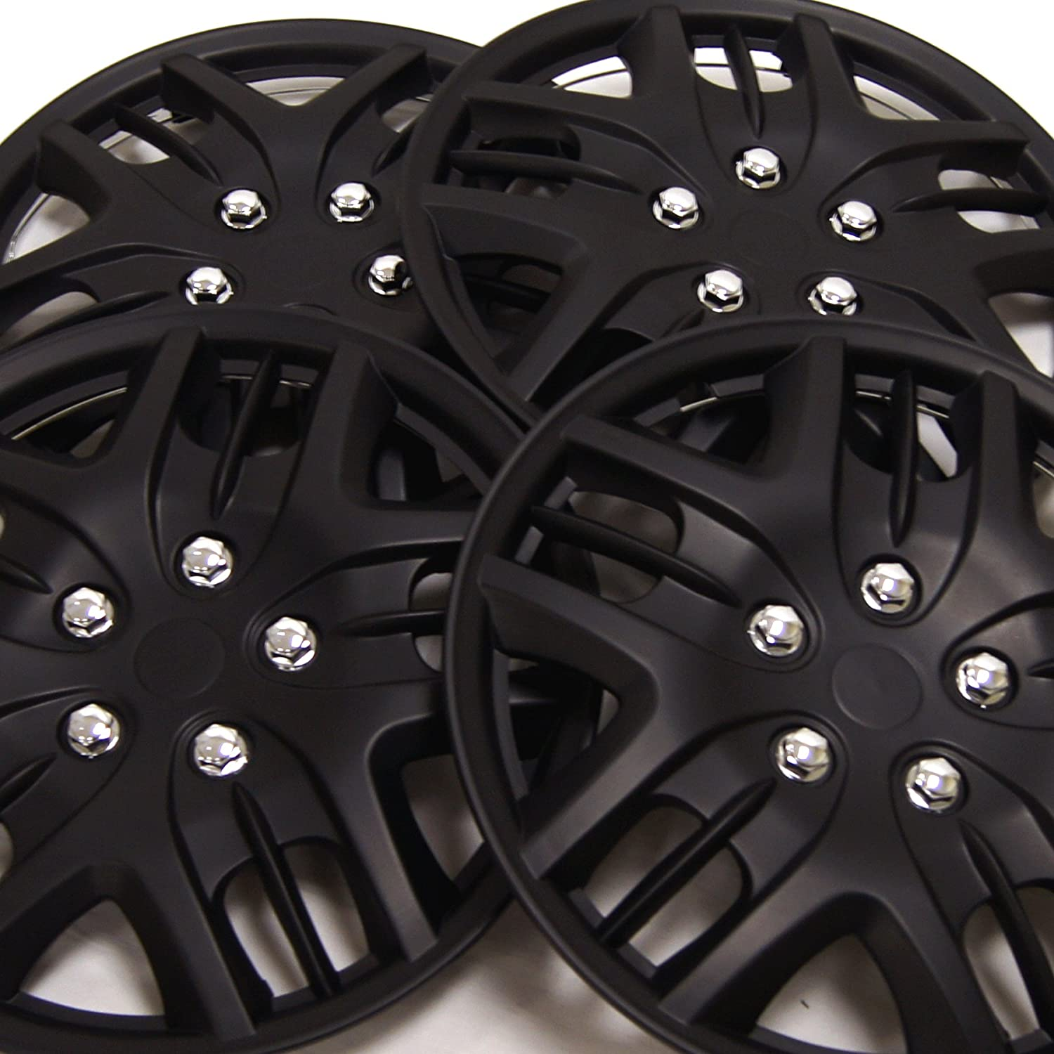 Pop-On 16-Inches Matte Black Hubcaps Wheel Cover TuningPros WSC3-025B16 4pcs Set Snap-On Type