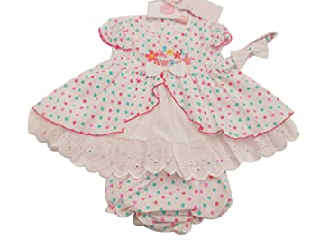 aa0086a40cfb BNWT Baby girls pretty summer spotty broderie anglaise dress   hairband  (18-24 months)