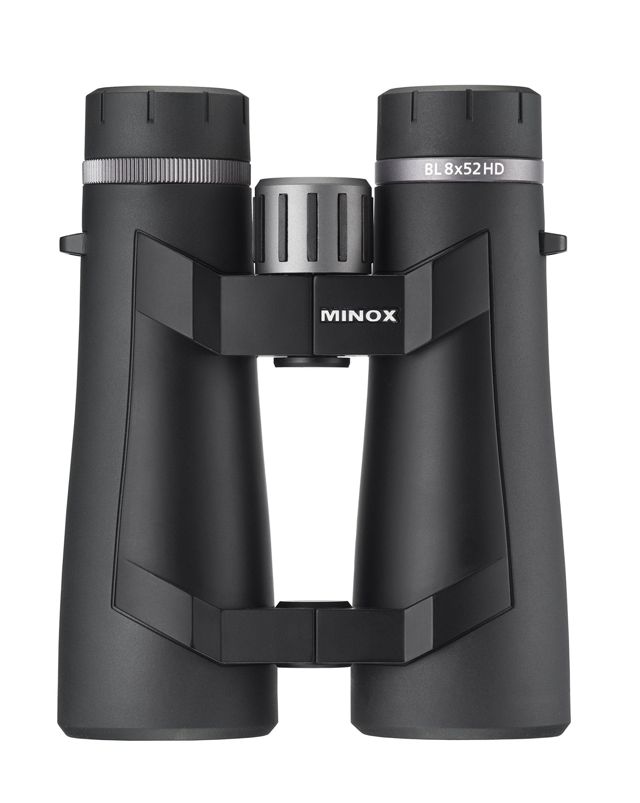 MINOX BL 8 x 52 Binocular – High Grade HD Glass w/ Advanced Lens Coating and Comfort Bridge Design for Single Hand Gripping and Stability – German Precision Engineering