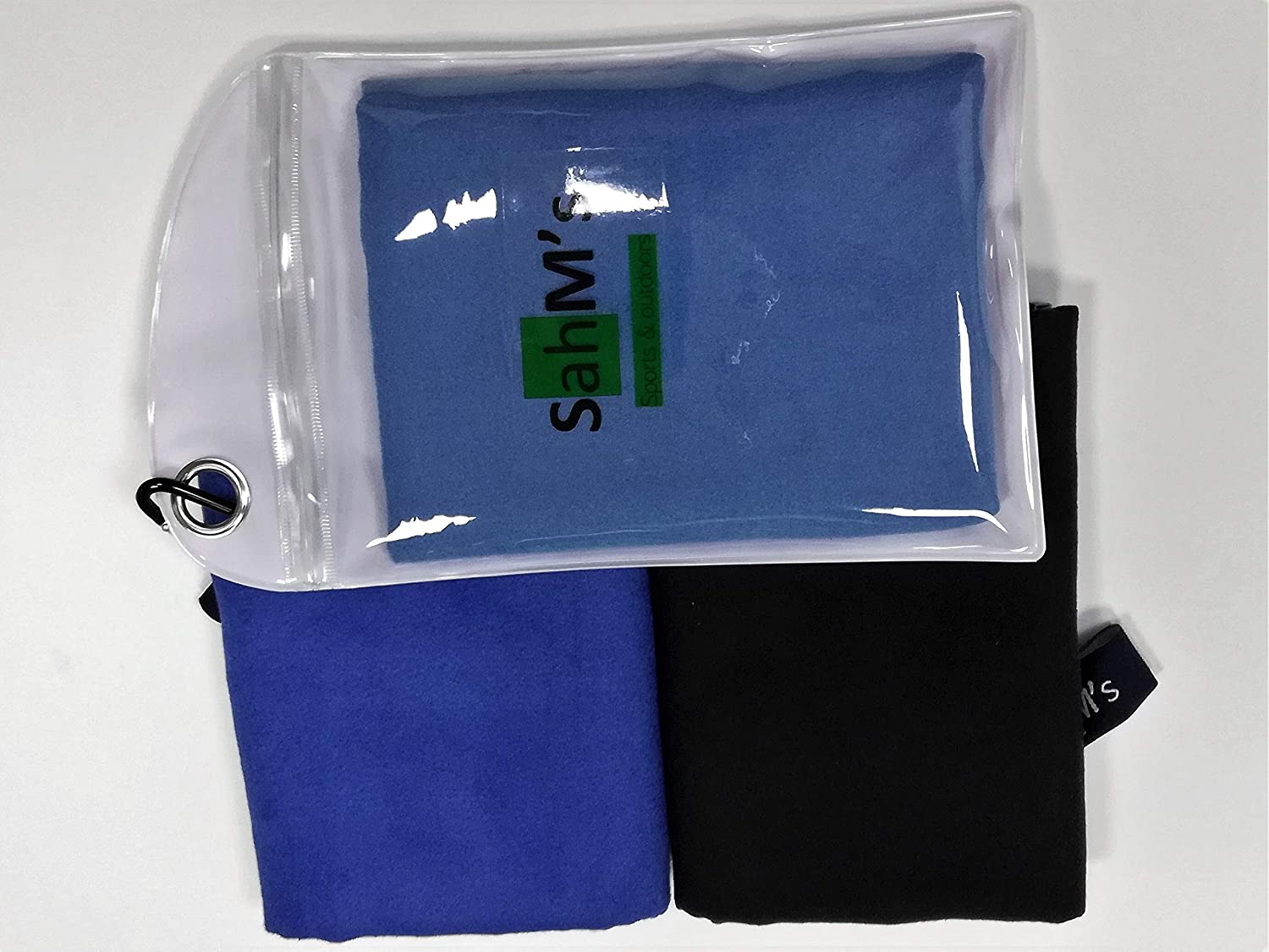 Microfiber Towel: GYM, Sports & Outdoor, Pets, Home/Kitchen + 3 pack/set of light weight light blue, dark blue & black color towels in size 40*80 cms (15.74 * 31.4 inches)+ super absorbent, quick dry, durable, reliable, ultra soft & gentle on s