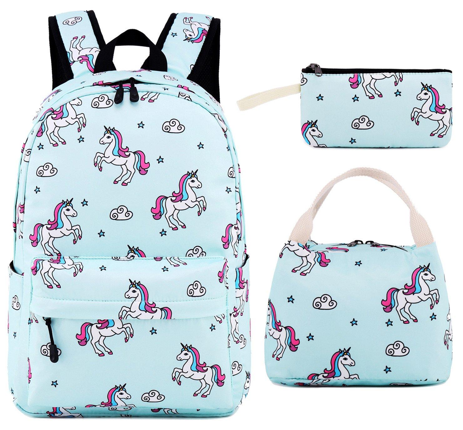 CAMTOP School Backpack for Girls Teens Bookbag Cute School Bag Set Water Resistant Travel Daypack (Light Blue Unicorn)
