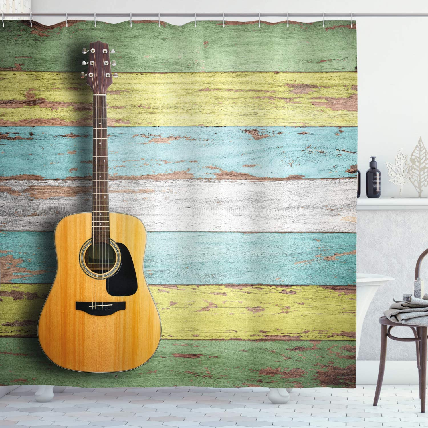 Ambesonne Music Shower Curtain, Acoustic Guitar on Colorful Painted Aged Wooden Planks Rustic Country Design Print, Cloth Fabric Bathroom Decor Set with Hooks, 75