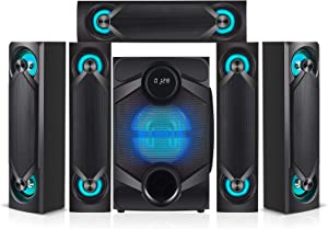 """Nyne NHT5.1RGB 5.1 Channel Home Theatre System – Bluetooth, USB, SD, RCA Outputs Inputs, 8 Inch Active Subwoofer, 6"""" Passive Radiator, LCD Digital Display, Wireless Remote"""