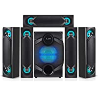 Nyne NHT5.1RGB 5.1 Channel Home Theatre System – Bluetooth, USB, SD, RCA Outputs Inputs, 8 Inch Active Subwoofer, 6…