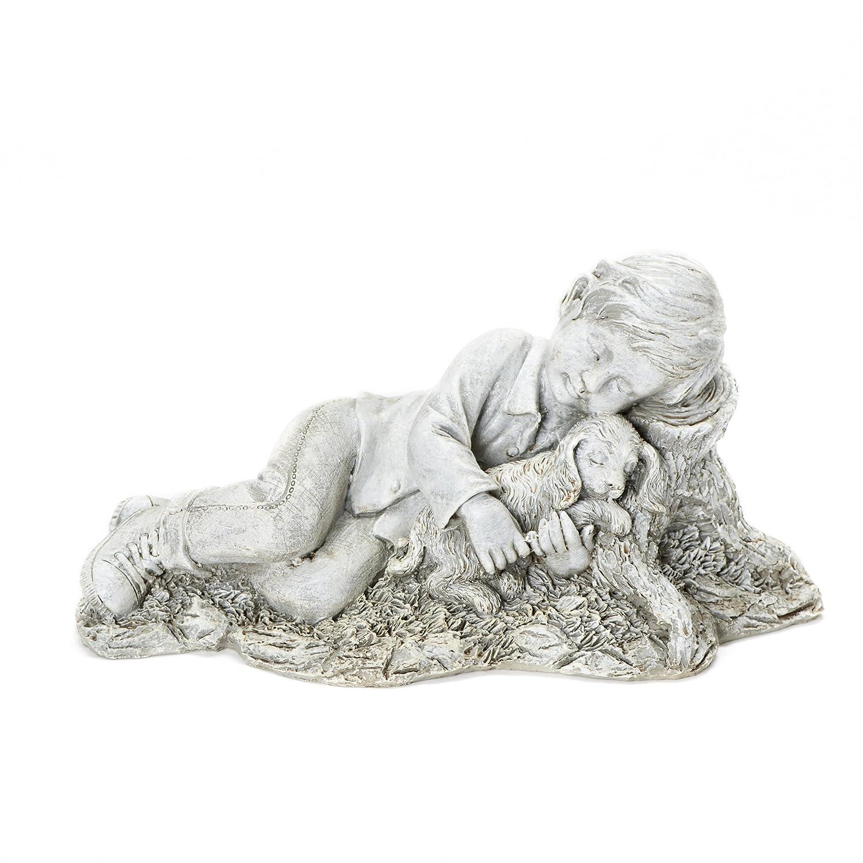 dog garden statue. Amazon.com : Roman Josephs Studio Sleeping Boy Snuggling With A Puppy Dog Outdoor Garden Statue, 12.5-Inch \u0026 Statue