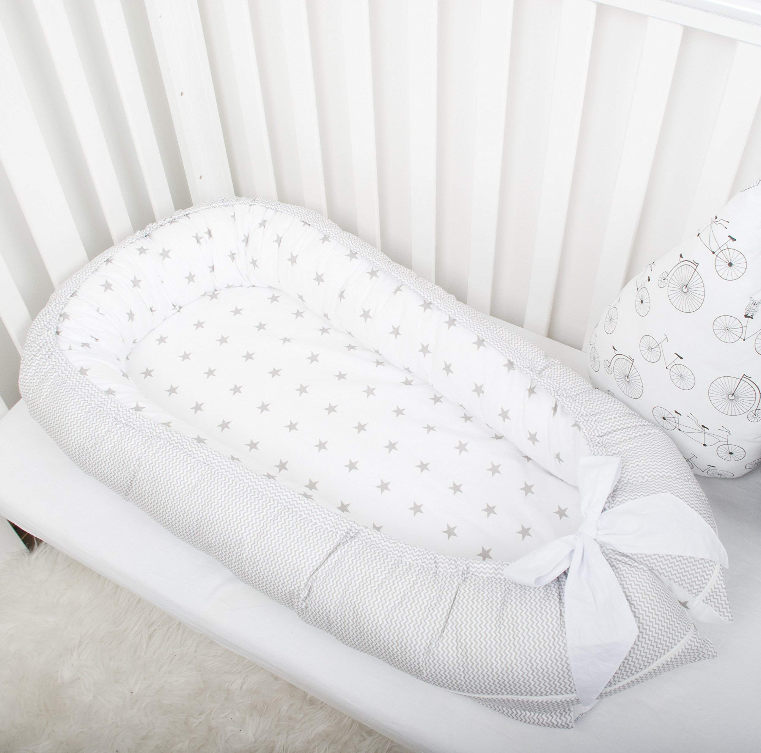Baby nest bed or toddler size nest, stars and chevron, portable crib, co sleeper babynest for newborn and toddlers