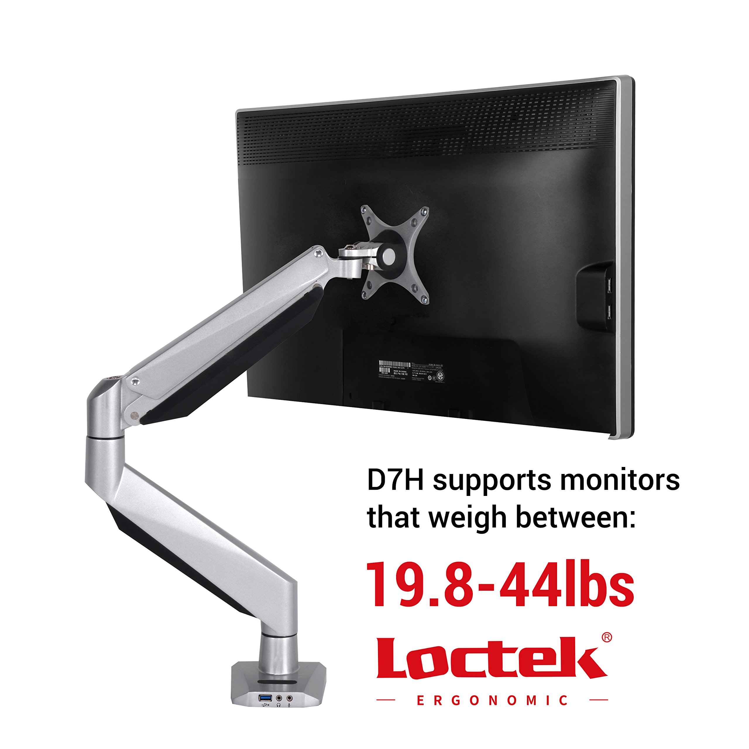 Loctek Monitor Mount Heavy Duty Single LCD Arm Stand Desk Mount Supports Heavy Monitors, The Weight At Least More than 20lbs, Fits for 17''-34'' Monitor