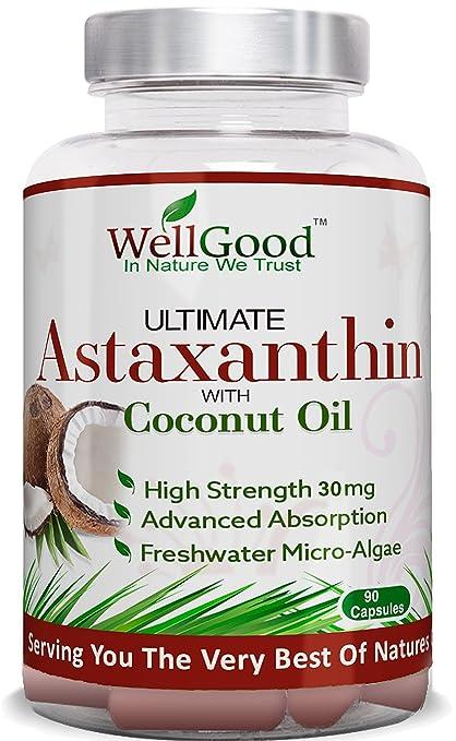 Astaxantina natural 30mg con aceite de coco - vegano 90 cápsulas - fuerza mayor - las
