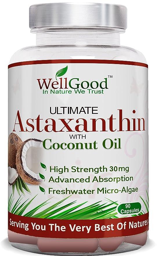 Astaxantina natural 30mg con aceite de coco - vegano 90 cápsulas - fuerza mayor - las naturalezas más potente antioxidante! -Ambiente ...