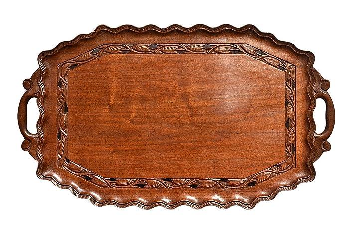 Boulevarte Handmade Wooden Serving Tray con las manijas | Bandeja de servir antigua | Bandeja decorativa | Decoración de bandeja de diseño | Bandeja tallada ...