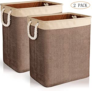 JOMARTO Laundry Basket with Handles 2 Pack, Collapsible Linen Laundry Hampers Built-in Lining with Detachable Brackets Well-Holding Laundry Storage Basket for Toys Clothes Organizer - Brown