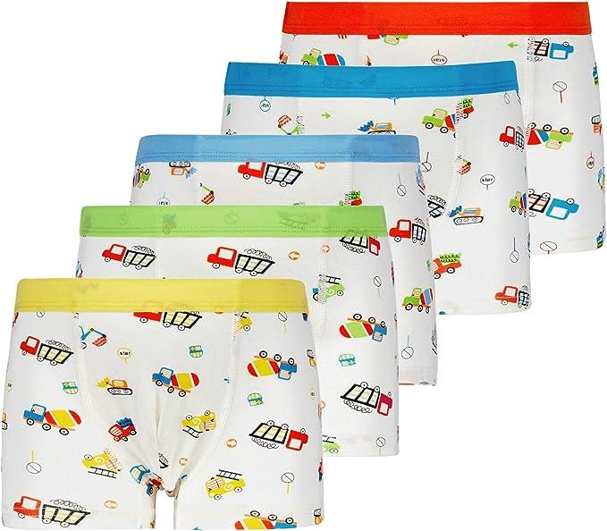 CC/&La Dame Cotton Underwear Boys Toddler Boxer Briefs Underwear Mix Color 5 Pack 2-8Y