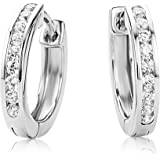 Miore Sterling Silver women's Channel Set Zirconia Hinged Hoop Earrings