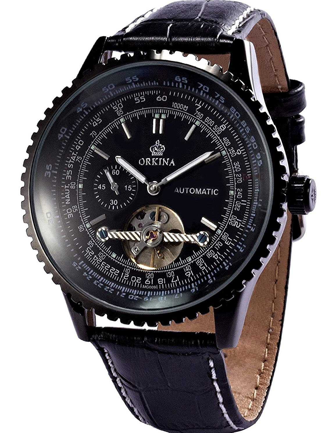 0d4362fda Amazon.com: Carrie Hughes Men's Fashion Tourbillon Stainless Steel Leather Automatic  Mechanical Watch (CHG009): Carrie Hughes: Watches