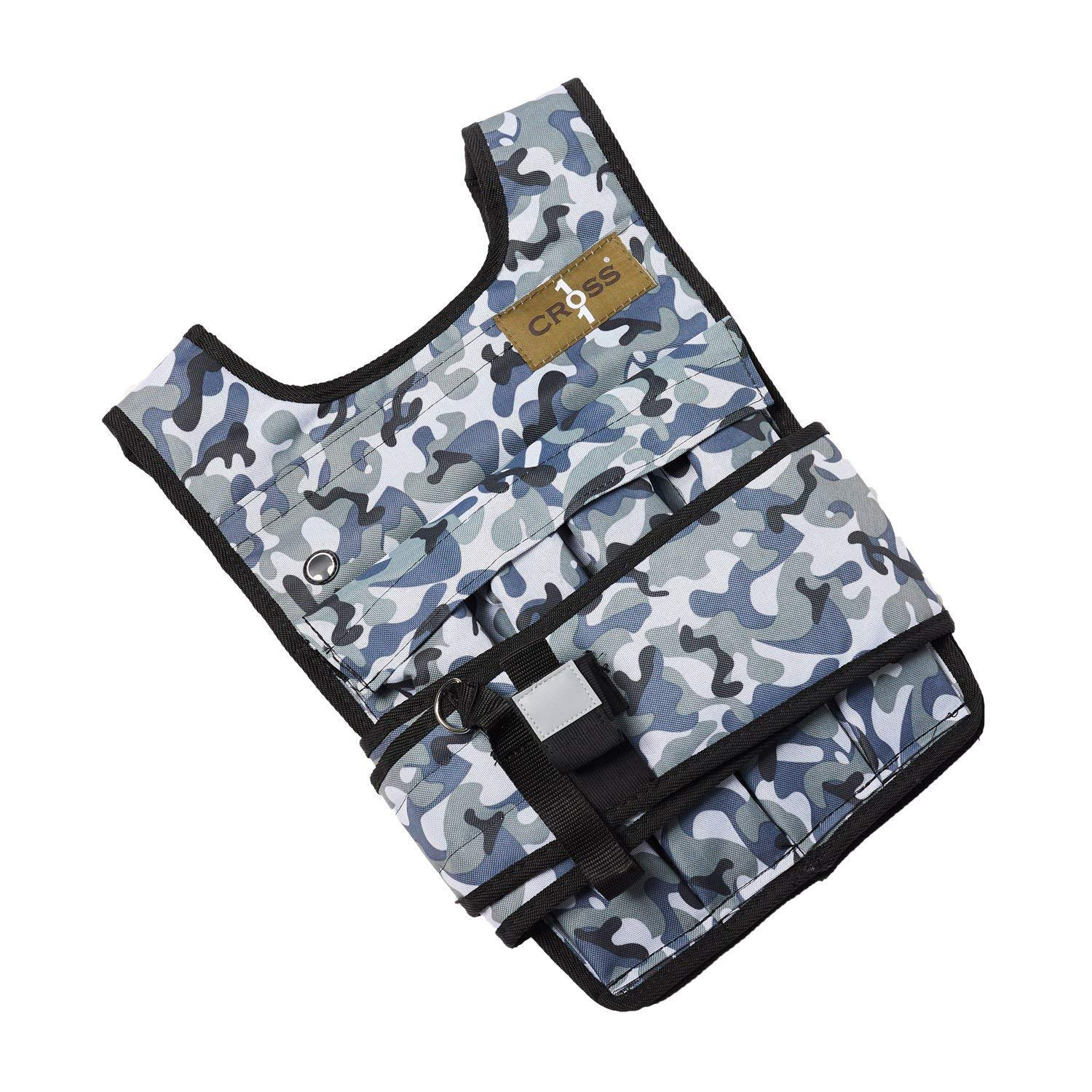 CROSS101 Adjustable Camouflage Weighted Vest 12LBS - 140LBS (Arctic - 20LBS)