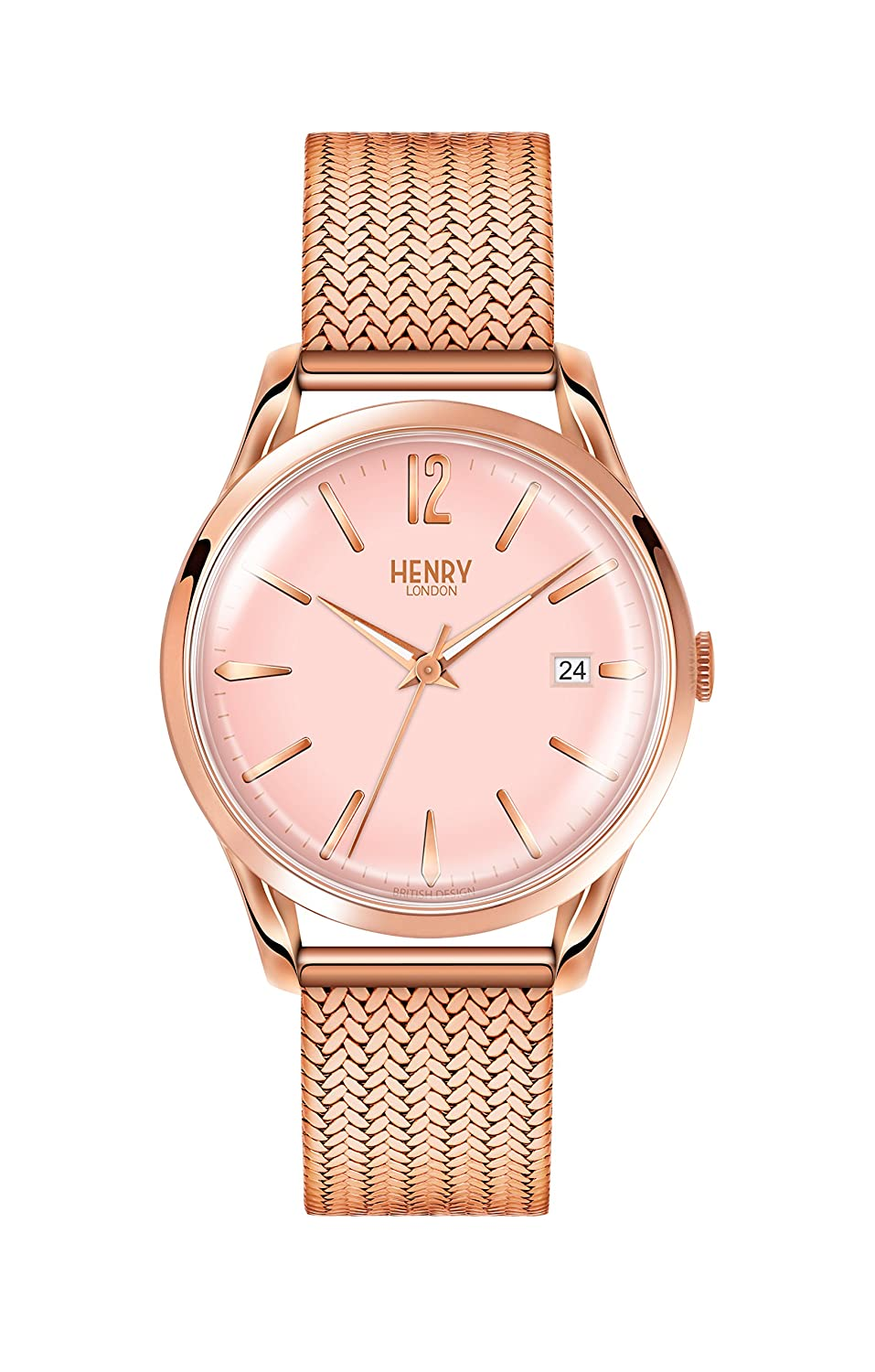 169ee7dbf0e0 Amazon.com  Henry London Ladies Analogue Shoreditch Watch with Rose Gold  Bracelet HL39-M-0166  Watches