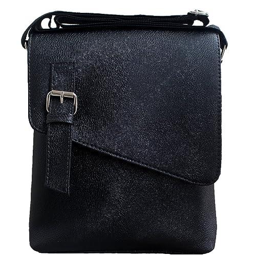 JaisBoy PU Leather Bag - Cross-Body Sling Bag Side Bag for  Mens Womens Girls (25 x 29 x 5 CM) Brown (Black)  Amazon.in  Shoes    Handbags a6645f13fe5ff