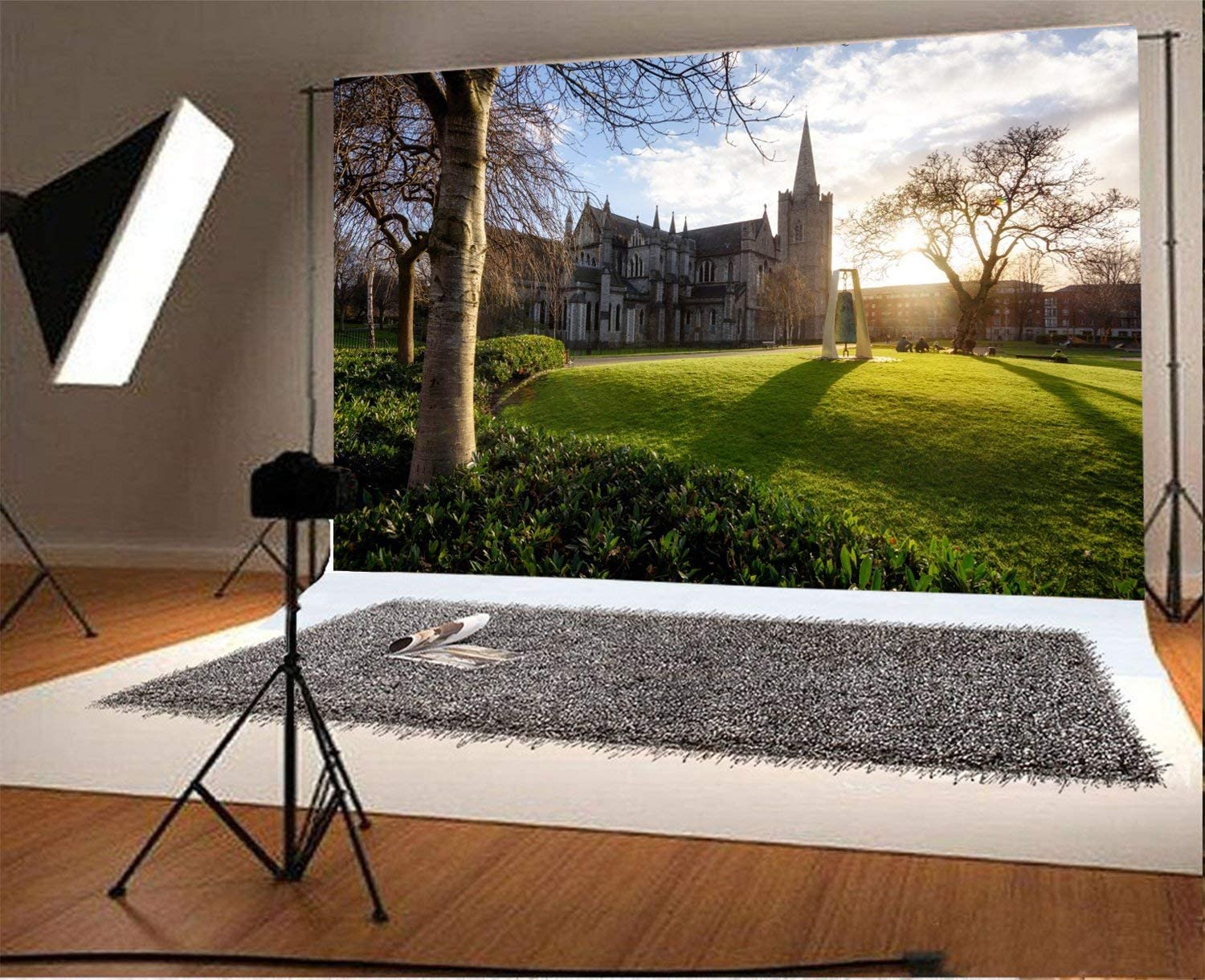 10x6.5ft Polyester Photography Backdrop St Patricks Cathedral Dublin Ireland Places of Worship Green Grassland Sunshine Blue Sky White Cloud Outdoor Photo Background Children Adults Portraits