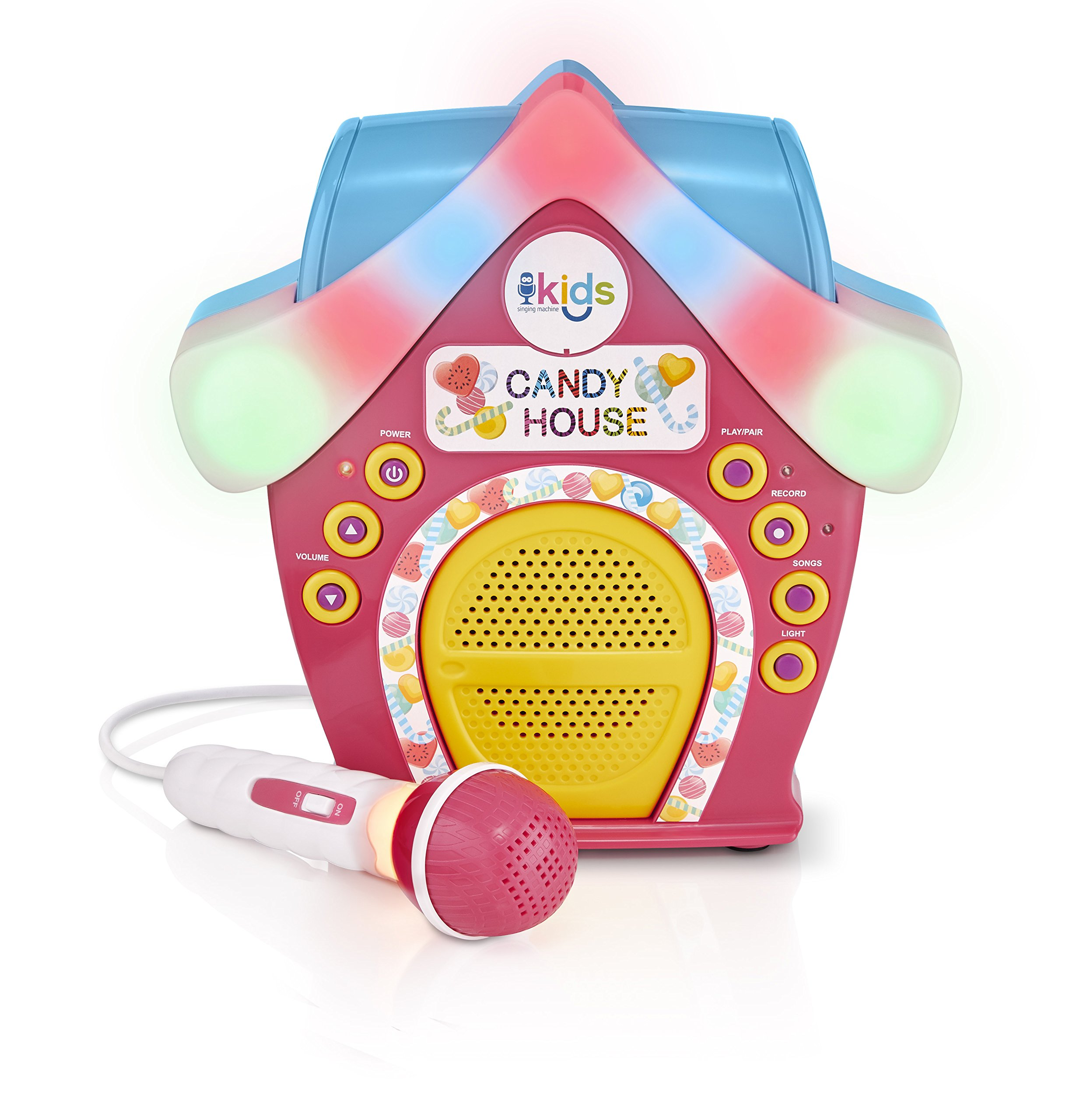Singing Machine Kids SMK470 Candy House Portable Bluetooth Sing-Along Speaker with LED Lit Microphone & Rooftop