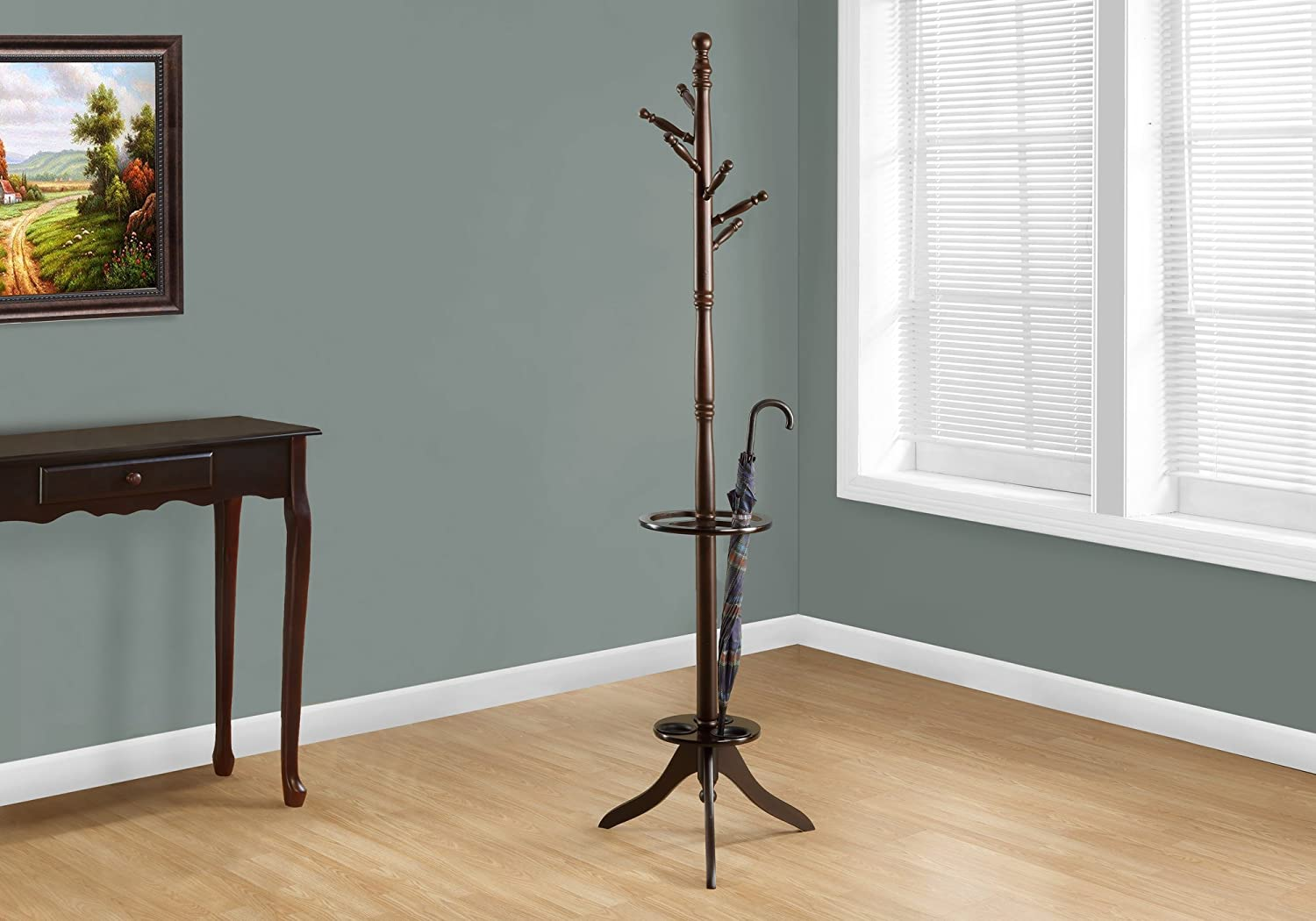 Monarch Specialties Solid Wood Coat Rack With An Umbrella Holder Cappuccino