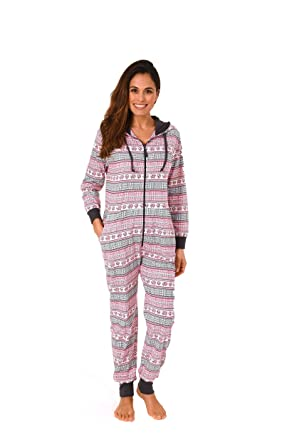24c280caab22ee Damen Schlafanzug Einteiler Jumpsuit Overall Langarm - auch in Übergrössen  - 267 90 418: Amazon.de: Bekleidung