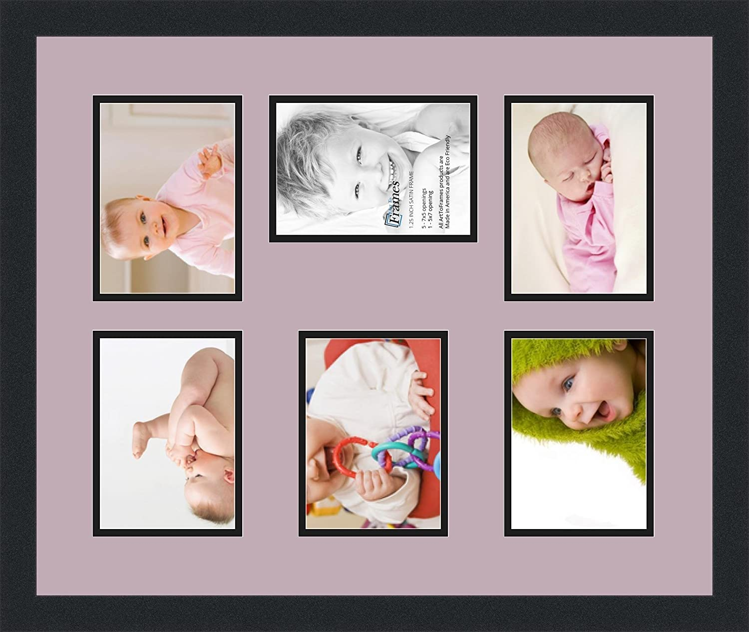 Art to Frames Double-Multimat-772-860//89-FRBW26079 Collage Photo Frame Double Mat with 6-5x7 Openings and Satin Black Frame