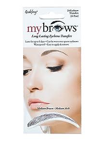 Godefroy MyBrows Long Lasting Eyebrow Transfers, Medium Arch, Medium Brown, 12-Pairs of Brows
