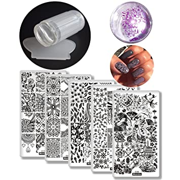 Amazon 6pcs Nail Art Stamping Template Flower Lip Kiss