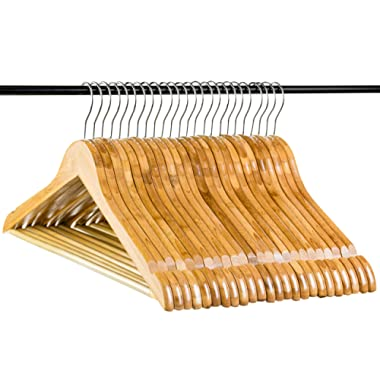 Neaties Bamboo Natural Wood Hangers with Notches and Non-Slip Bar, 24pk